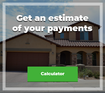arizona stlye home with a buttin that says calculator and the text get an estimate of your payments